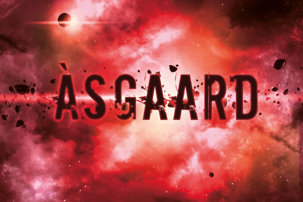 Visuel de la collection science-fiction Àsgaard. Espace rouge avec des planètes et des étoiles